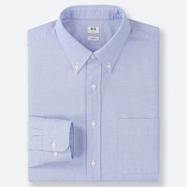 MEN OXFORD SLIM-FIT LONG-SLEEVE SHIRT, BLUE, medium