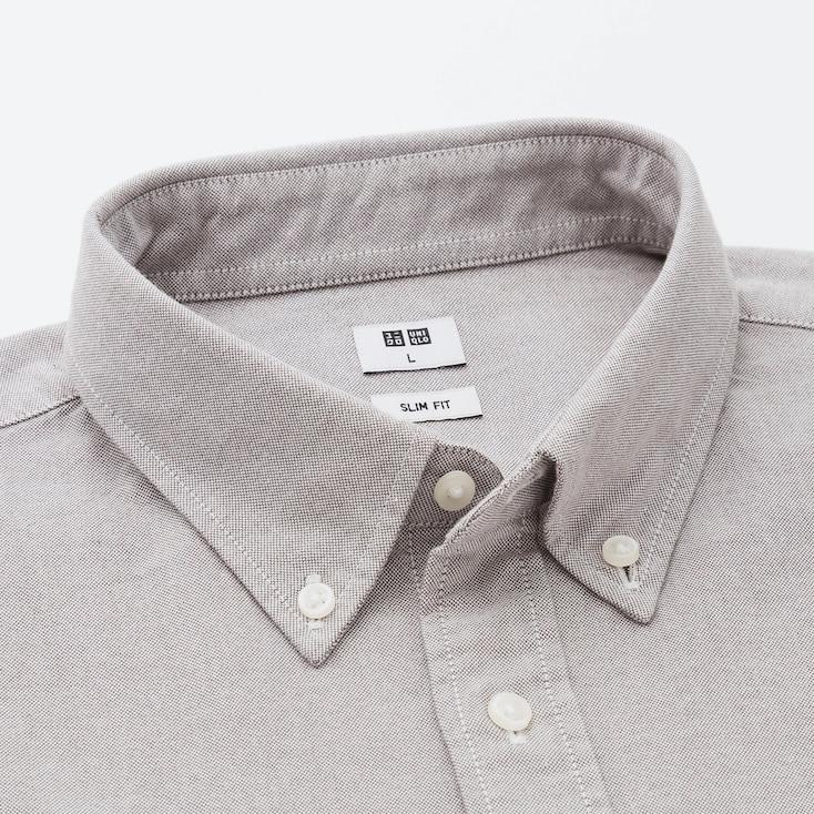 Men Oxford Slim-Fit Long-Sleeve Shirt, Gray, Large