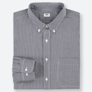 MEN EXTRA FINE COTTON BROADCLOTH CHECKED LONG SLEEVED SHIRT (BUTTON-DOWN COLLAR)