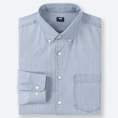MEN DENIM LONG-SLEEVE SHIRT, BLUE, medium