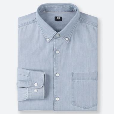 MEN DENIM LONG-SLEEVE SHIRT, BLUE, medium