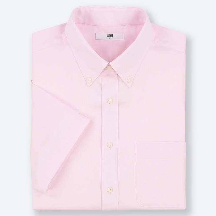 MEN DRY EASY CARE OXFORD SHORT-SLEEVE SHIRT (ONLINE EXCLUSIVE), PINK, large