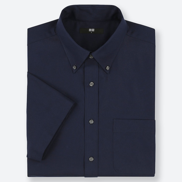 MEN DRY EASY CARE OXFORD SHORT-SLEEVE SHIRT (ONLINE EXCLUSIVE), NAVY, large