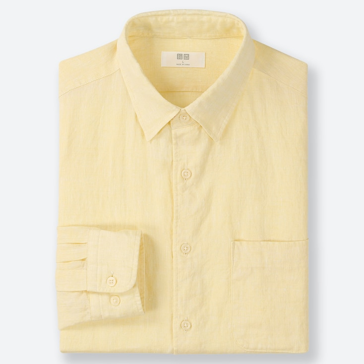 MEN PREMIUM LINEN LONG-SLEEVE SHIRT, YELLOW, large