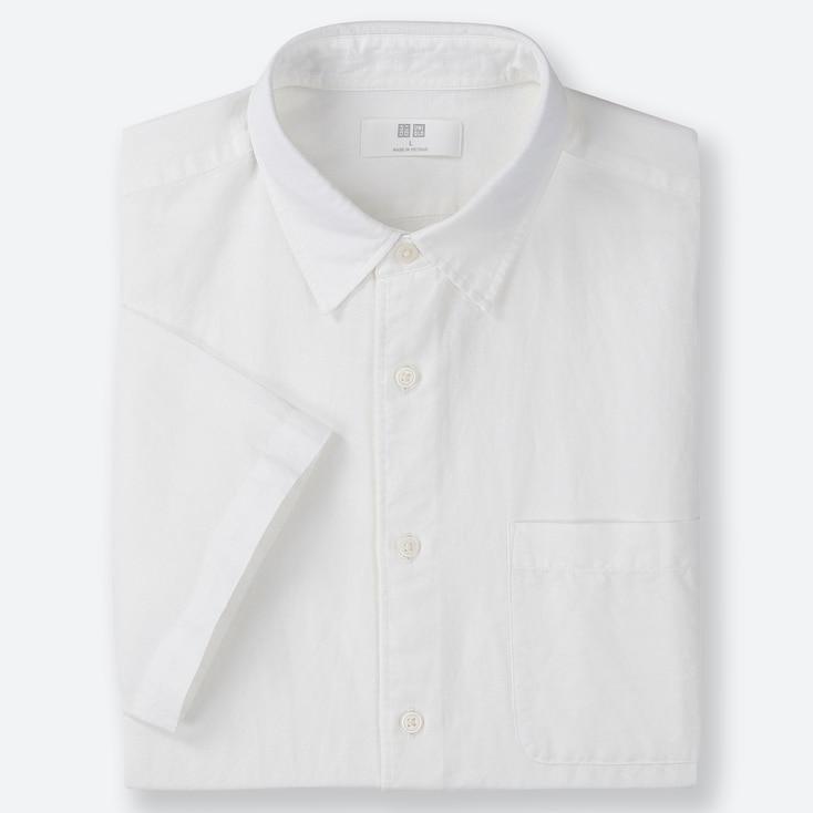 MEN LINEN COTTON SHORT-SLEEVE SHIRT, WHITE, large