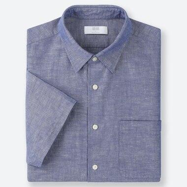 MEN LINEN COTTON SHORT-SLEEVE SHIRT, BLUE, medium