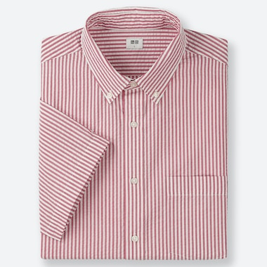 MEN DRY SEERSUCKER STRIPED SHORT SLEEVED SHIRT (BUTTON-DOWN COLLAR)