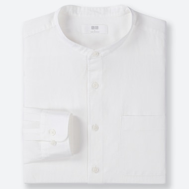 MEN LINEN COTTON BLEND REGULAR FIT SHIRT (GRANDAD COLLAR)