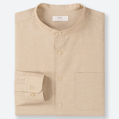 MEN LINEN COTTON BLEND SHIRT (STAND COLLAR)