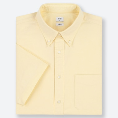 MEN OXFORD SLIM-FIT SHORT-SLEEVE SHIRT, YELLOW, medium