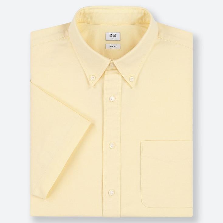 MEN OXFORD SLIM-FIT SHORT-SLEEVE SHIRT, YELLOW, large