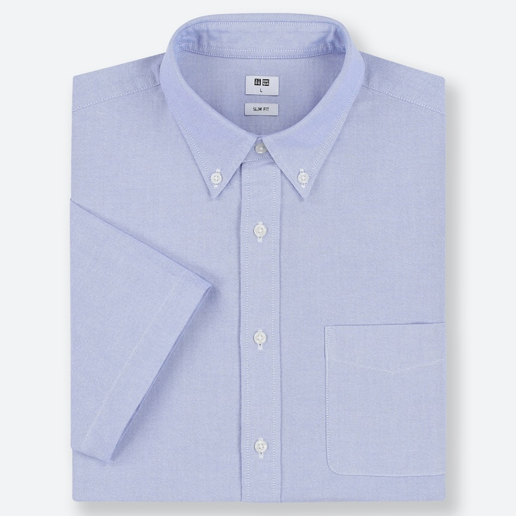 MEN OXFORD SLIM-FIT SHORT-SLEEVE SHIRT, BLUE, large
