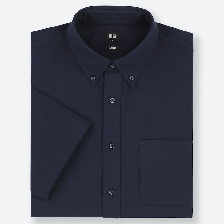 MEN OXFORD SLIM-FIT SHORT-SLEEVE SHIRT, BLUE, large