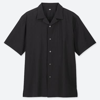 MEN OPEN COLLAR SHORT-SLEEVE SHIRT, BLACK, medium