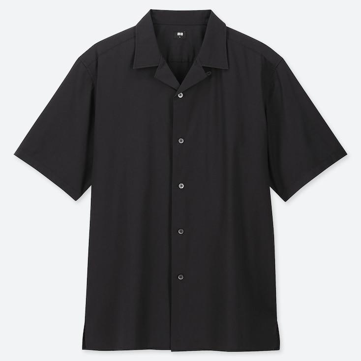 MEN OPEN COLLAR SHORT-SLEEVE SHIRT, BLACK, large