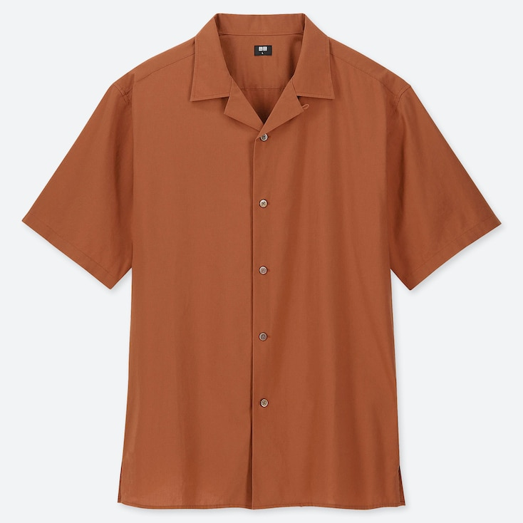 MEN OPEN COLLAR SHORT-SLEEVE SHIRT, ORANGE, large