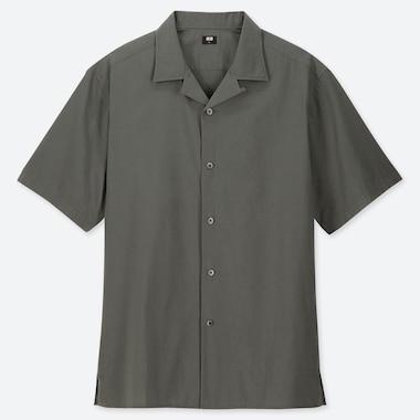 MEN OPEN COLLAR SHORT-SLEEVE SHIRT, OLIVE, medium