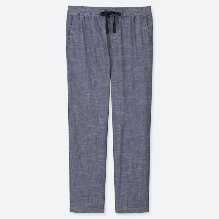 MEN CHAMBRAY RELAX ANKLE PANTS, BLUE, large