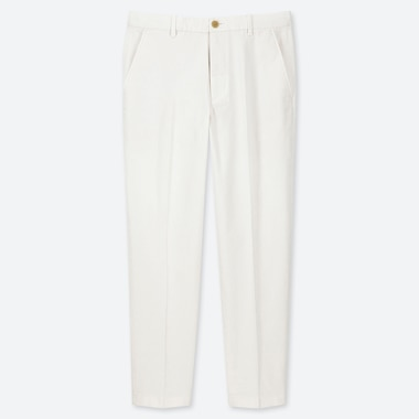 MEN EZY COTTON RELAXED FIT ANKLE-LENGTH PANTS, WHITE, medium