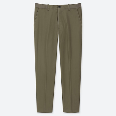 MEN EZY COTTON RELAXED FIT ANKLE-LENGTH PANTS, OLIVE, medium