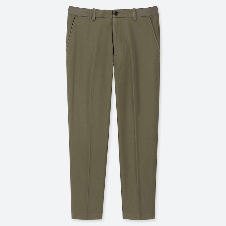 MEN EZY COTTON RELAXED FIT ANKLE-LENGTH PANTS, OLIVE, large