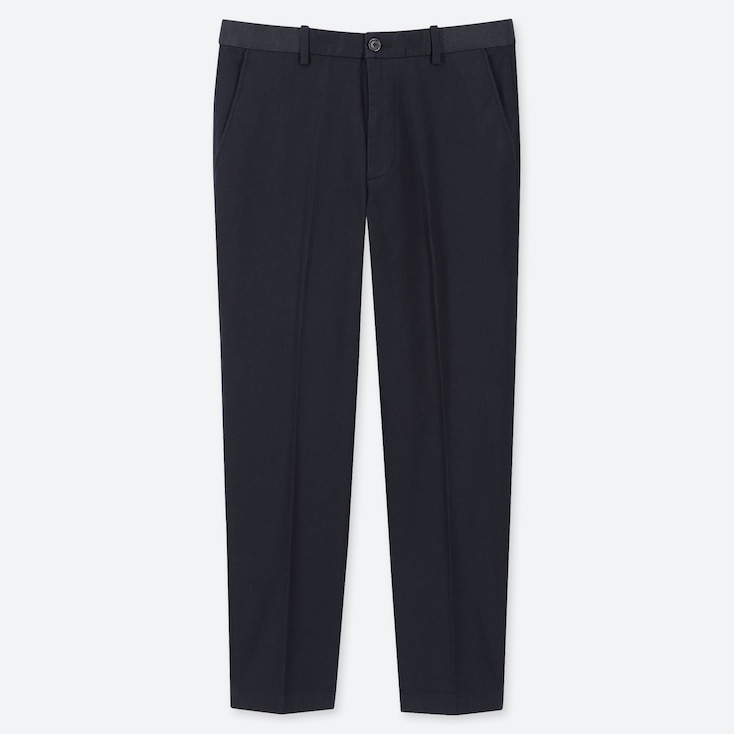 MEN EZY COTTON RELAXED FIT ANKLE-LENGTH PANTS, NAVY, large
