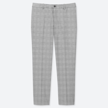 MEN EZY GLEN CHECKED ANKLE-LENGTH PANTS, LIGHT GRAY, medium