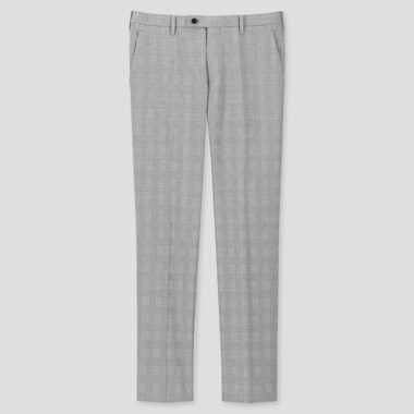 MEN GLEN CHECKED KANDO PANTS (ULTRA LIGHT), GRAY, medium