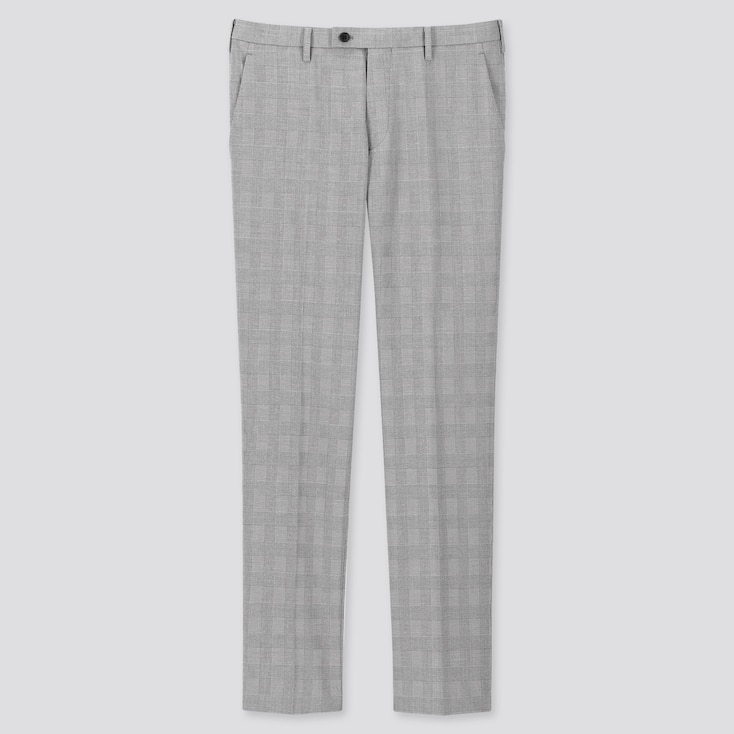 MEN GLEN CHECKED KANDO PANTS (ULTRA LIGHT), GRAY, large