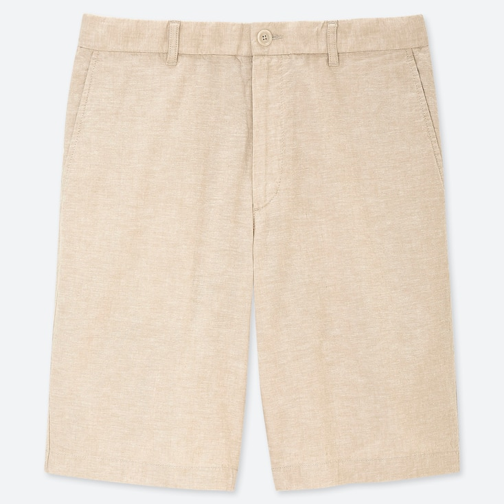 MEN LINEN BLEND SHORTS, BEIGE, large