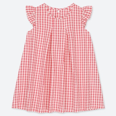 BABIES TODDLER GINGHAM CHECKED FRILLED DRESS