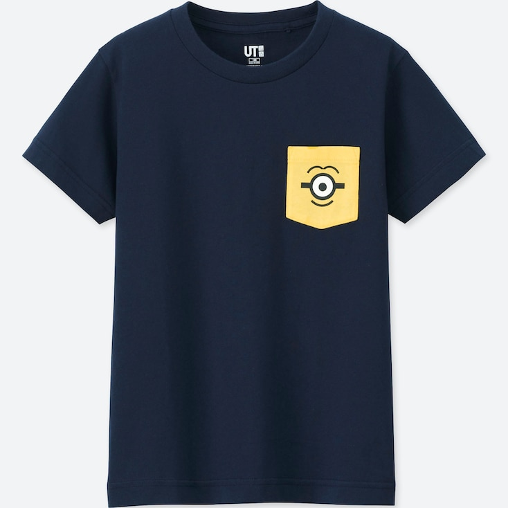 KIDS MINIONS UT (SHORT-SLEEVE GRAPHIC T-SHIRT), NAVY, large