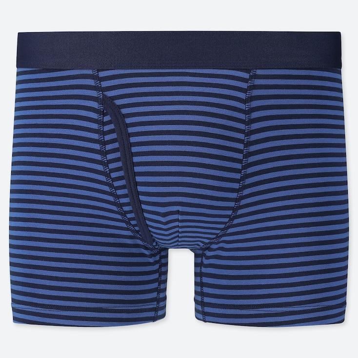 Men Supima© Cotton Boxer Briefs, Blue, Large