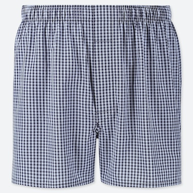 MEN WOVEN CHECKED BOXERS, NAVY, medium