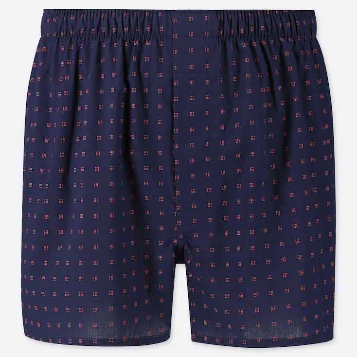 MEN WOVEN PRINTED BOXERS, NAVY, large