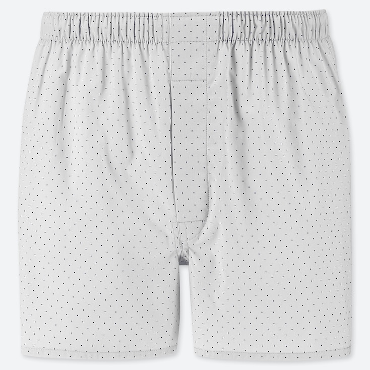 MEN WOVEN PRINTED BOXERS, LIGHT GRAY, large