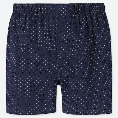 MEN WOVEN PRINTED BOXERS, NAVY, medium