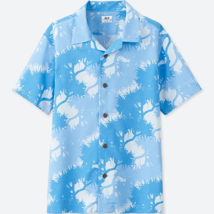 Boys Easy Care Printed Short-sleeve Shirt, Blue, Large
