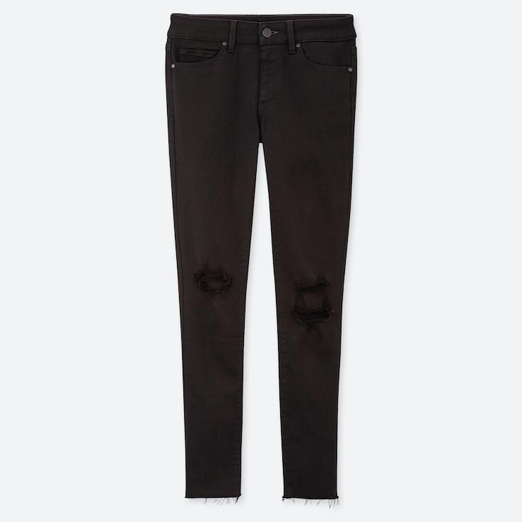 Women Damaged Ultra Stretch Jeans, Black, Large