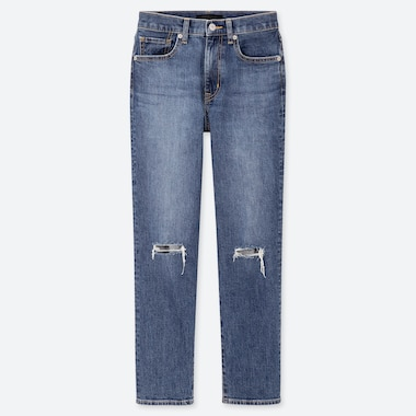 WOMEN HIGH RISE STRAIGHT FIT DISTRESSED JEANS (L28)