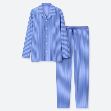 MEN LONG-SLEEVE PAJAMAS, BLUE, medium