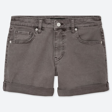 WOMEN MID-RISE ROLL-UP DENIM SHORTS (ONLINE EXCLUSIVE), GRAY, medium