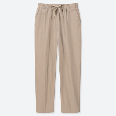 WOMEN COTTON RELAX ANKLE PANTS, BEIGE, medium