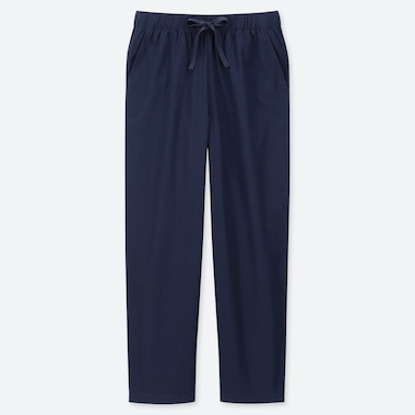 WOMEN COTTON RELAX ANKLE PANTS, NAVY, medium