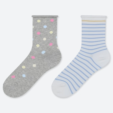 GIRLS PATTERNED REGULAR SOCKS (TWO PAIRS)