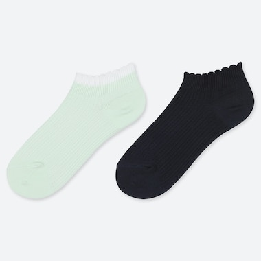 GIRLS SHORT SOCKS (SET OF 2), GREEN, medium