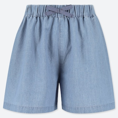 GIRLS EASY FLARE SHORTS CHAMBRAY, BLUE, medium