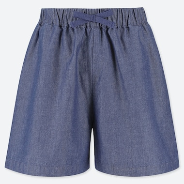 GIRLS EASY CHAMBRAY FLARED SHORTS