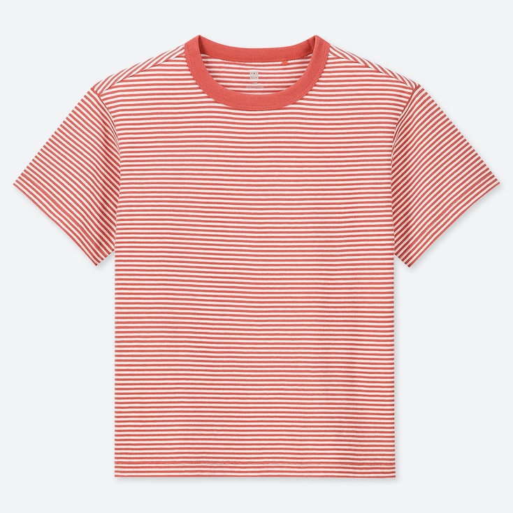 KIDS STRIPED CREW NECK SHORT-SLEEVE T-SHIRT, ORANGE, large