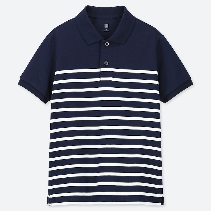KIDS DRY PIQUE STRIPED SHORT-SLEEVE POLO SHIRT, NAVY, large